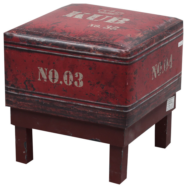 NACH Faux Leather Square Industrial Stool Red industrial-footstools -and-ottomans  sc 1 st  Houzz & NACH Faux Leather Square Industrial Stool - Industrial ... islam-shia.org