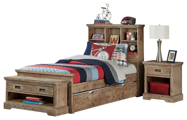 Boat Bed With Trundle And Toy Box Storage: Traxler Sandwashed Gray Bookcase Bed