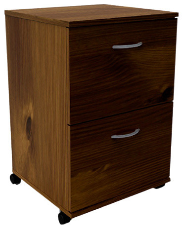 Essentials 2-Drawer Mobile Filing Cabinet, Truffle - Modern - Filing Cabinets - by Luxeria