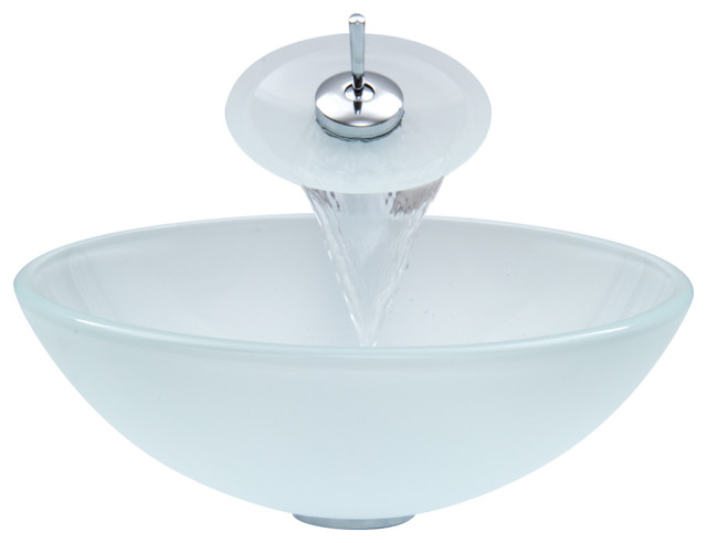 VIGO Glass Vessel Sink and Waterfall Faucet Set, White Frost