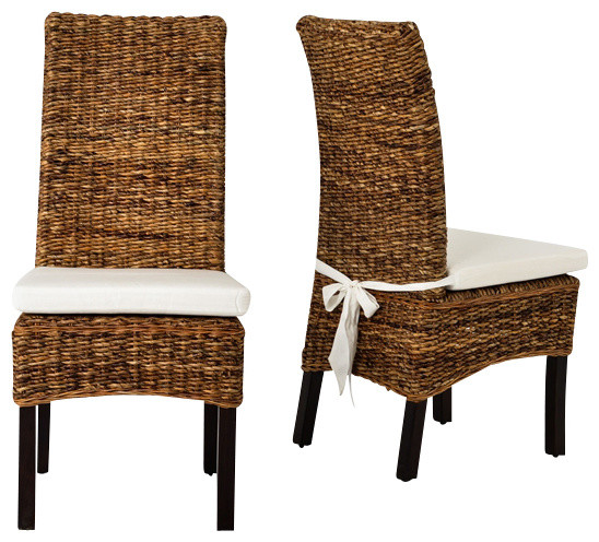 Awesome Four Hands Banana Leaf Chair With Cushion, Brown Tropical Dining Chairs Part 10