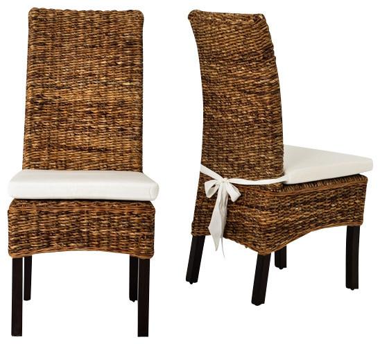 Four Hands Banana Leaf Chair With Cushion  Brown tropical dining chairs. Four Hands Banana Leaf Chair With Cushion   Tropical   Dining