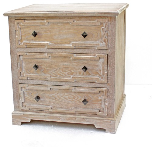 Rustic Whitewashed Wooden Cabinet with 3 Drawers