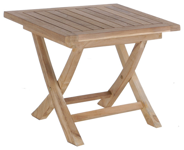 Biscay Folding Side Table Transitional Outdoor Side Tables