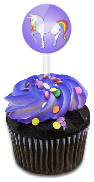 Unicorn Cupcake Toppers Picks Set.