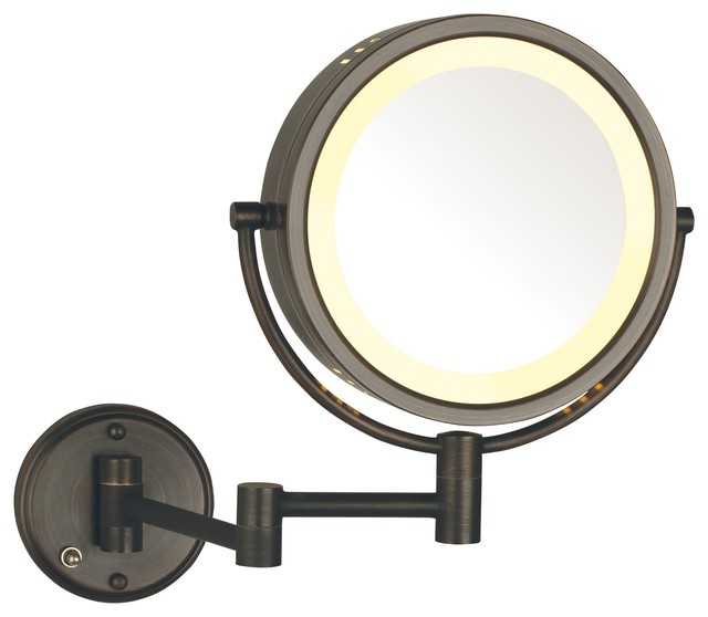 Modern Bronze Wall Mounted Lighted Make Up Mirror Hard Wire
