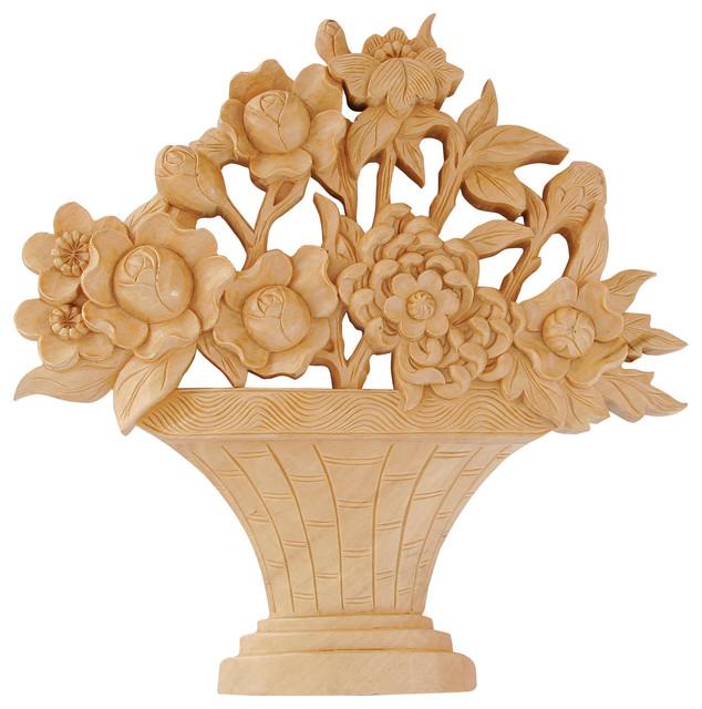 hand carved wood flower basket plaque basswood transitional