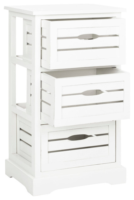 Safavieh Samara 3 Drawer Cabinet, Distressed Cream.
