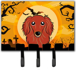 Halloween Longhair Red Dachshund Leash/Key Holder - Contemporary - Wall Hooks - by the-store