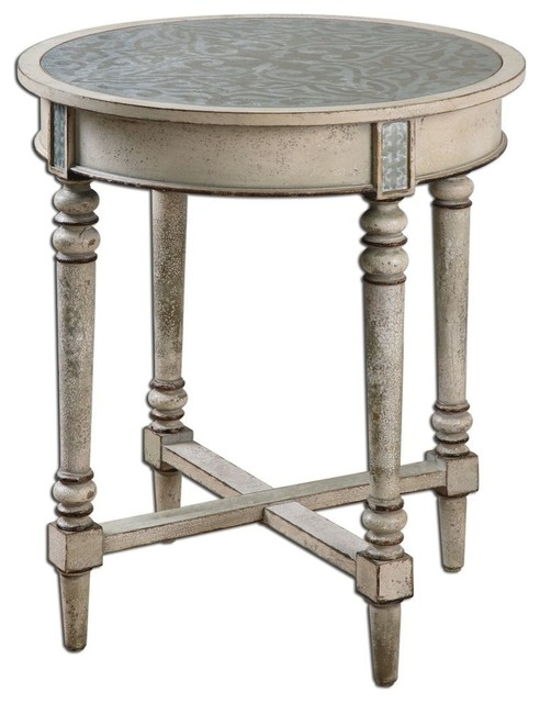 Transitional Rustic Ivory Round Table, Solid Wood Aluminum Top  Farmhouse Side Tables