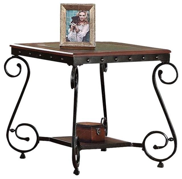 Waneta Cherry Beading Design Metal Frame Glass Top Wood Shelf Side End  Table Contemporary Side