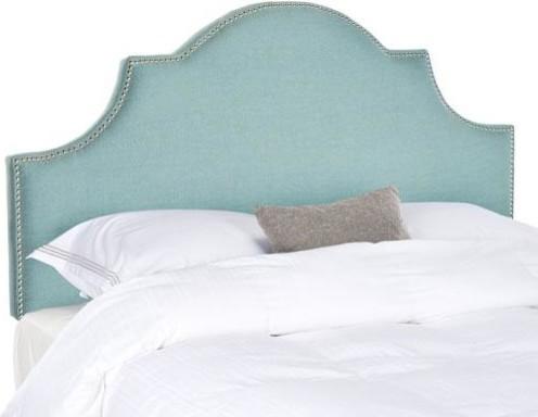Safavieh Hallmar Sky Blue Arched Headboard, Silver Nail Head, Full