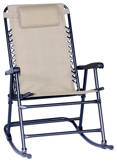 Arlington Rex Folding Rocking Chair Beige Contemporary