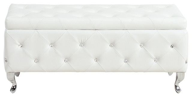 Crystal Tufted Fabric Storage Ottoman With Chrome Feet White Faux Leather