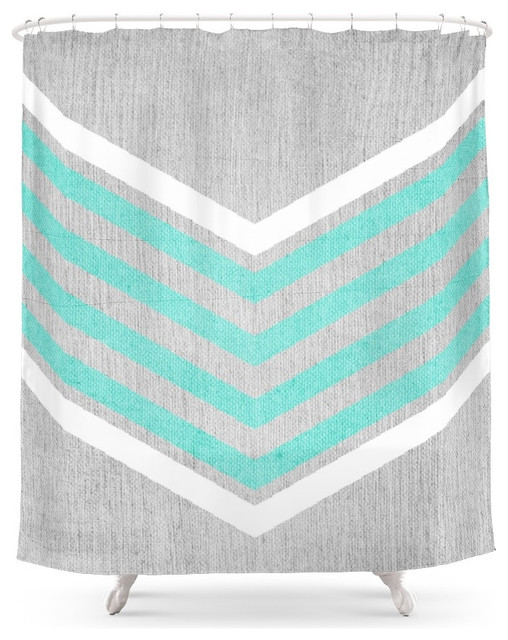 Teal And White Chevron On Silver Gray Wood Shower Curtain