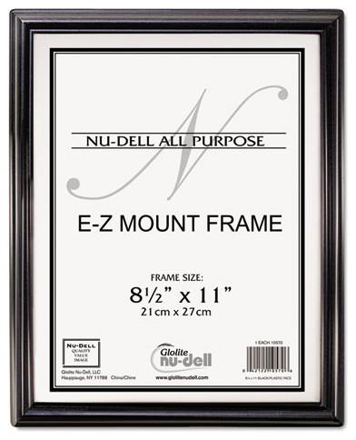 Nudell Ez Mount Document Frame, Plastic, 8 1/2 X 11, Black ...