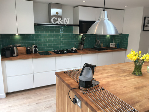 Regarding Flooring We Were Initially Thinking Of A Dark Grey Black Slate Effect Ceramic Tile Or Lvt However Lot Kitchen With Wood Countertops Tend To
