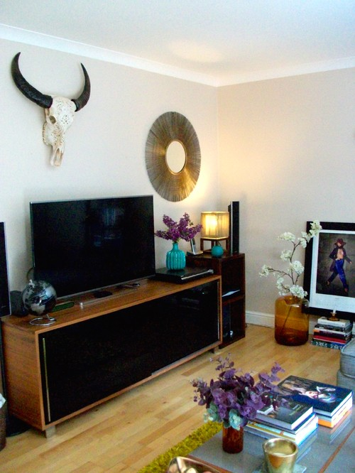 LIVING ROOM MAKEOVER From Beige To Dark Inky GREY With 1 WHITE Wall