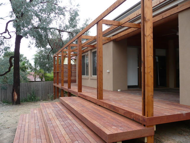 Modern Deck Amp Pergola With Wide Steps Modern Melbourne