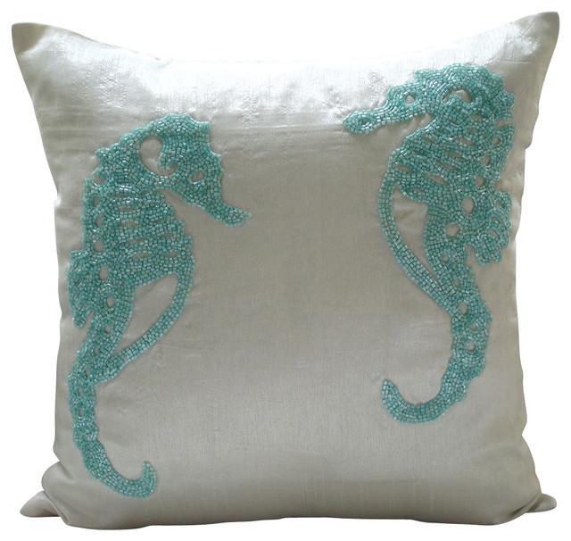 white art silk beaded sea horse throw pillows cover, sea horse aqua White Decorative Pillows