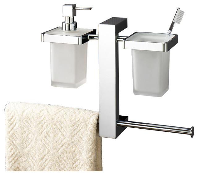 Wall Mounted Rack With Toothbrush Holder Soap Dispenser