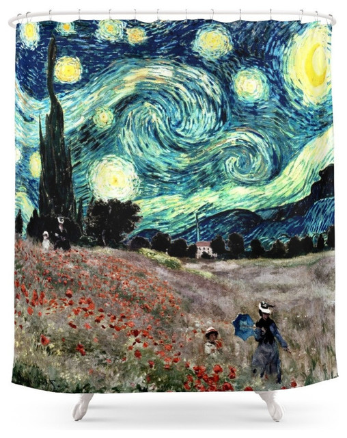 Monets Poppies With Van Goghs Starry Night Sky Shower Curtain