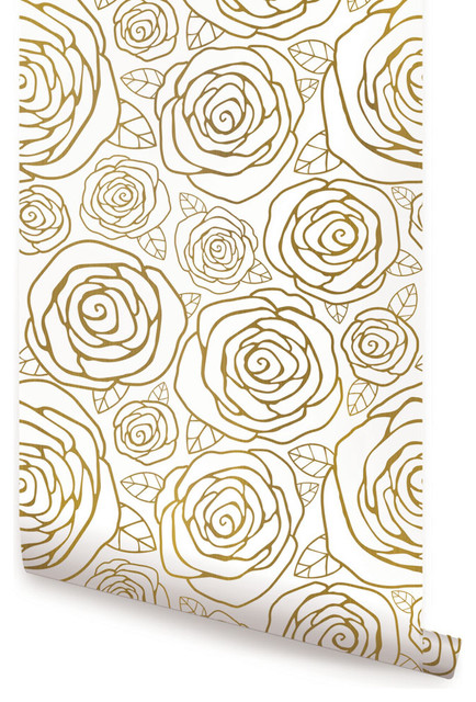 Stick On Wall Paper gold roses wallpaper, peel and stick - contemporary - wallpaper