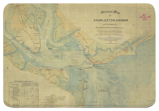 Sc Charleston Harbor Sc C 1865 Vintage Nautical Chart Memory Foam Bath Mat Contemporary Bath Mats By Island Girl Home Inc