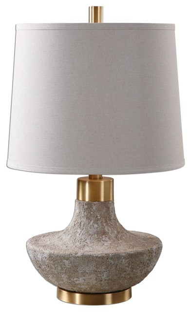 1 Light Standard Bulb Table Lamp, Plated Brushed Brass.