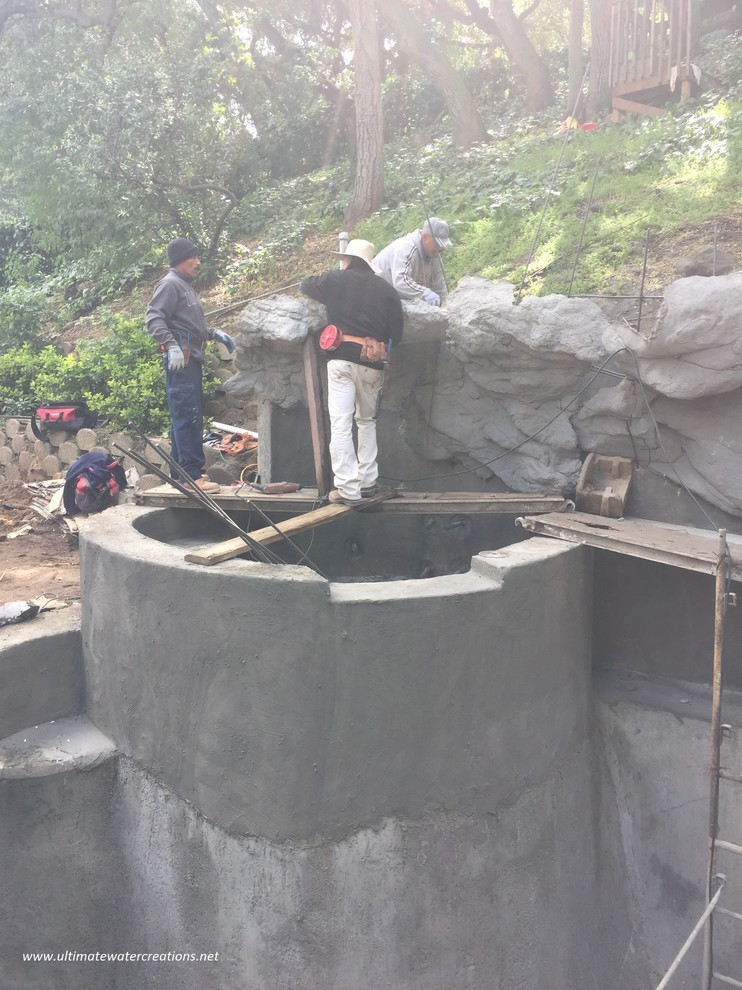 Before & After -Naturalistic Pool, Spa with Slide in La Crescenta, CA
