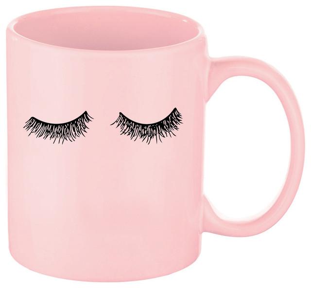 Eyelashes Pink Coffee Mug Mugs By Sweet Water Decor Llc