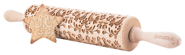 Folk Doves, Engraved Rolling Pin For Embossed Cookies, 16.9.