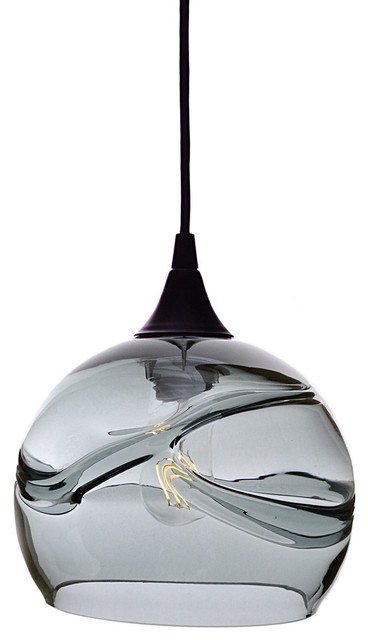 Swell Pendant Form No. 767, Gray Glass Shade, Black Hardware, 8W LED