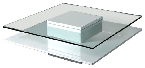 Modrest Emulsion Modern White Glass Coffee Table.