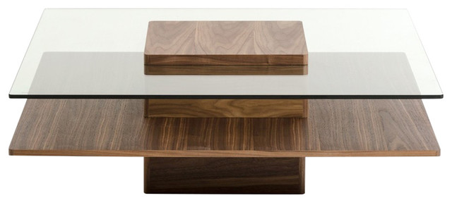 Modrest Clarion Modern Walnut And Glass Coffee Table.