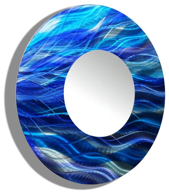 Blue Metal Decorative Wall-Mounted Mirror By Jon Allen, Standard.