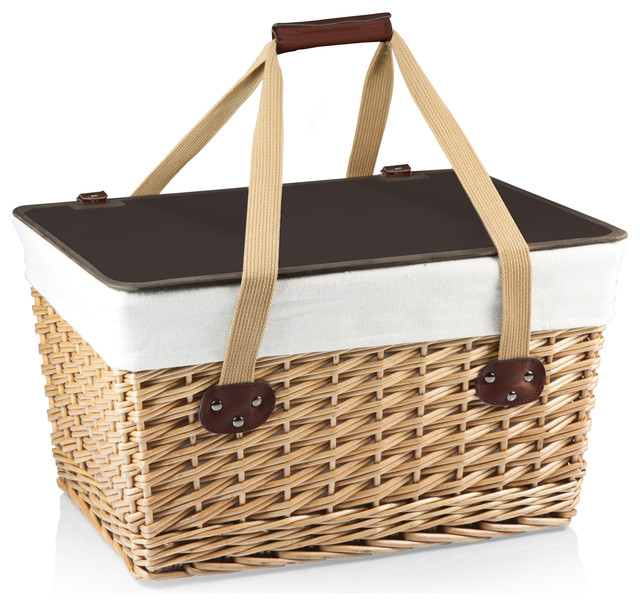 Canasta Grande Picnic Basket, Natural Willow With Tan Lining.