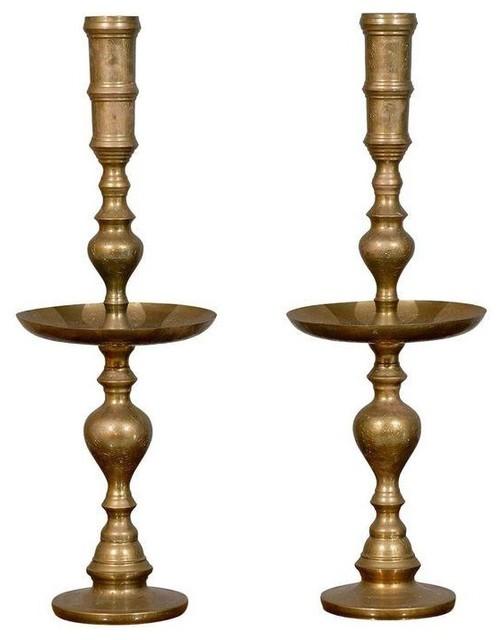 Brass Candlesticks hollywood regency brass candlesticks - a pair - modern