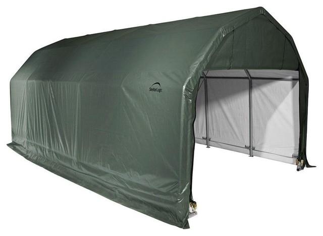 12&x27;x20&x27;x9&x27; Barn Style Shelter, Green.