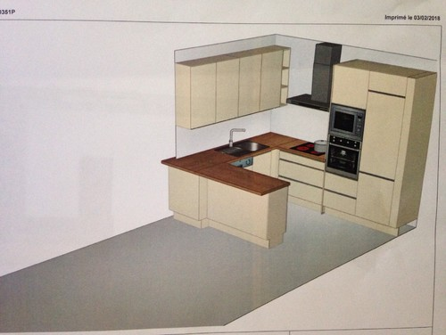 Disposition cuisine ouverte 2 9m x 2 2m prolongeable for Disposition cuisine