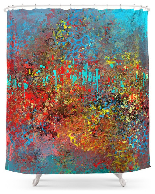 Abstract Painting In Red Turquoise