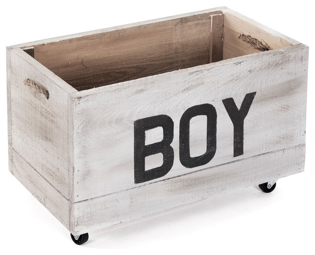 Boy Painted Storage Box On Casters Antique White Nursery Decor