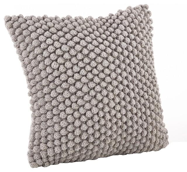 Handmade Crochet Pompom Throw Pillow, Gray.