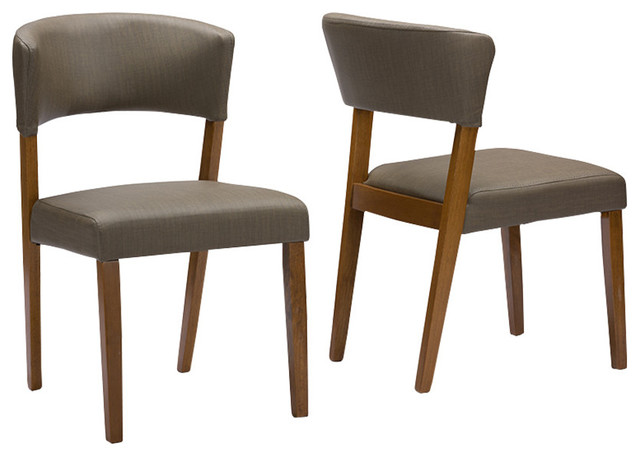 Montreal Mid Century Dark Walnut Wood Gray Faux Leather Dining Chairs, Set  Of 2