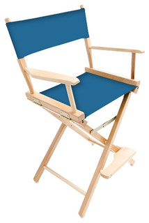 """Gold Medal 24"""" Natural Commercial Director's Chair, Ocean Blue"""