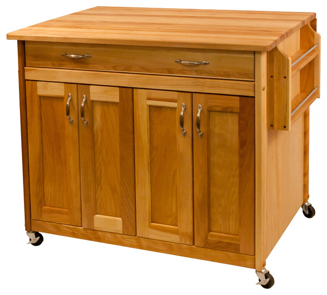 Hugo Rolling Kitchen Island With Flat Panel Doors And Drop Leaf.