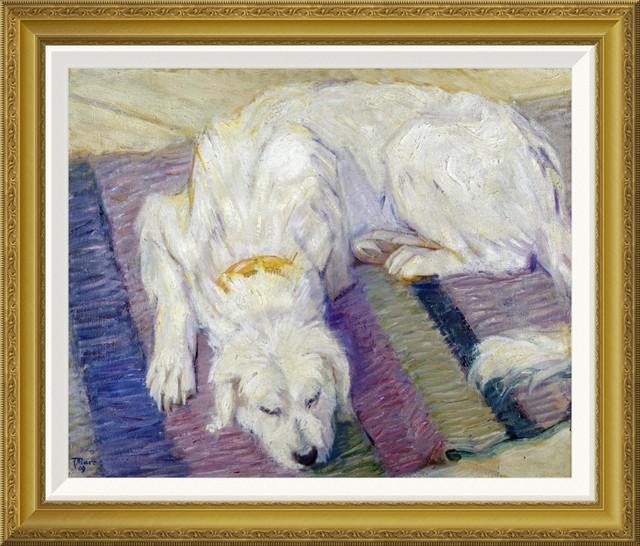 """""""liegender hund hundeportrat"""" framed canvas giclee"""