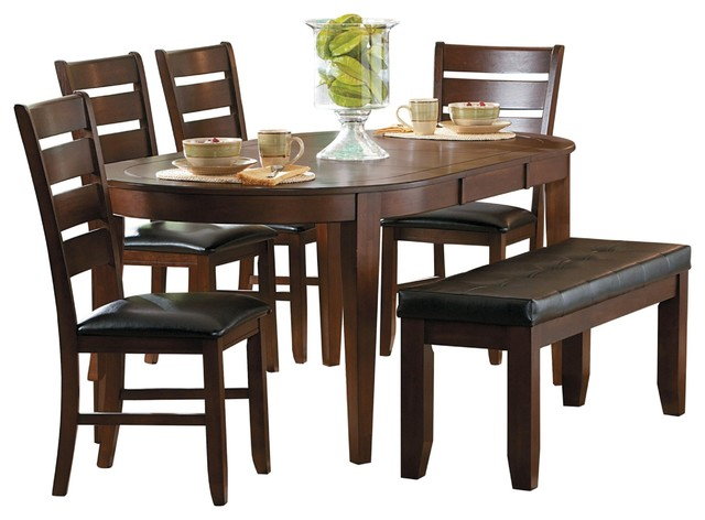 Oval Table 4 Chair Bench Dark Brown