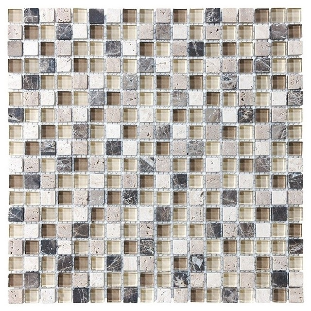 """Bliss Cappuccino Stone and Glass Square Mosaic Tile, 12""""x12"""" Sheet"""