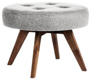 Round Footstool, Light Grey